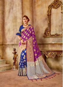 Riveting Pink And Blue Engagement Traditional Saree