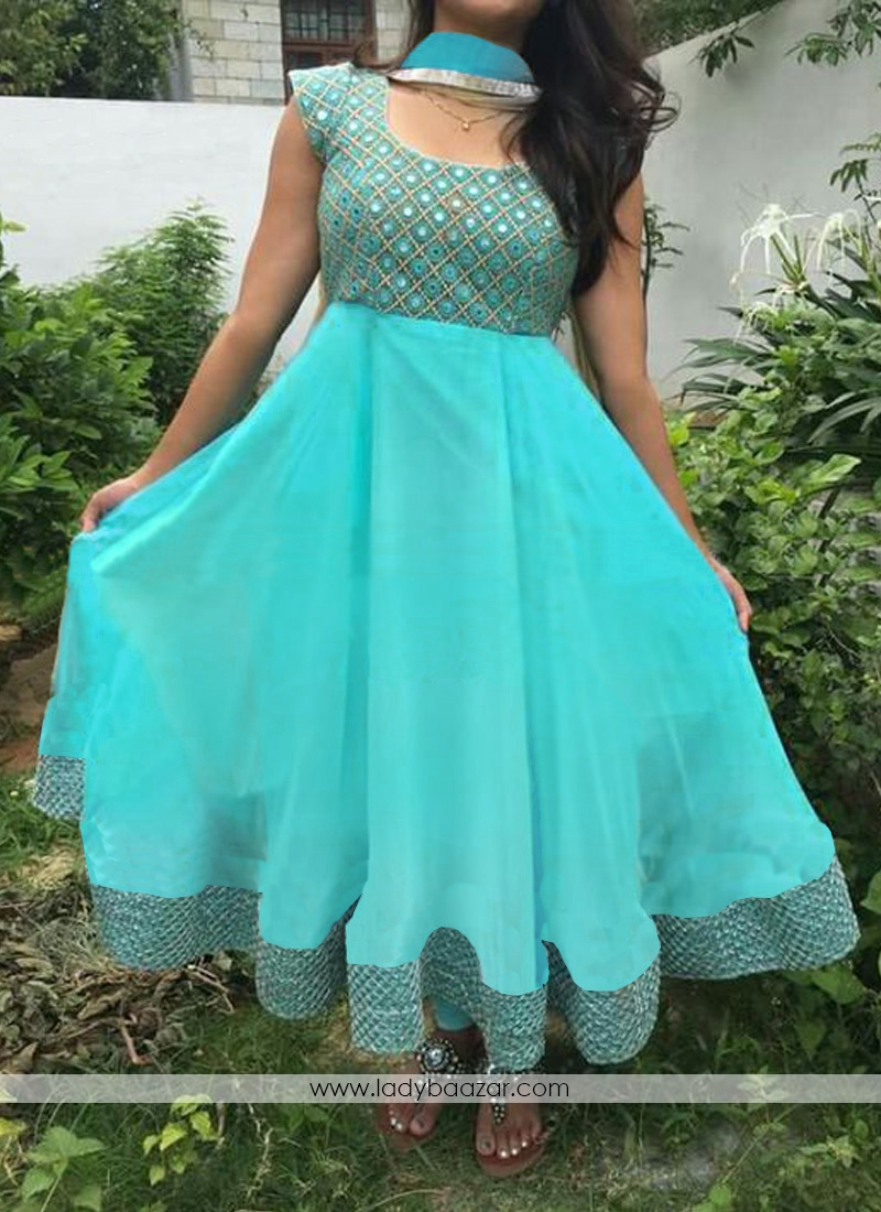 Foil Mirror Work Embroidered Turquoise Designer Dress With Matching Dupatta