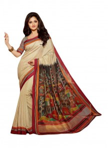Ruritanian Bhagalpuri Silk Cream Printed Casual Saree
