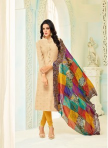 Scintillating Cream Chanderi Printed Straight Suit