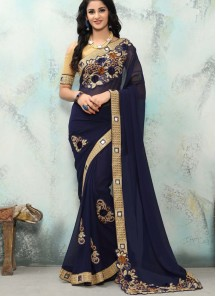 Scintillating Georgette Navy Blue Designer  Saree