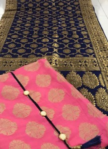 Scintillating Pink And Blue weaving Banarasi Jacquard Designer Dress Material