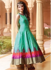Sea Green Banglori Silk Pure Hand Work Stitched Anarkali Suit