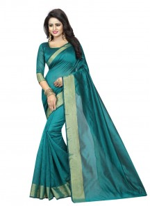 Sea Green Cotoon Silk Printed Casual Saree