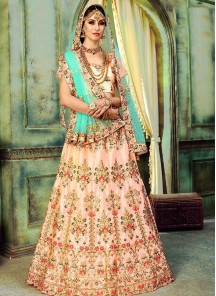 Senorita Silk Resham Lehenga Choli In Peach