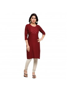 Sensational Embroidery Work Maroon Colour Casual Kurti
