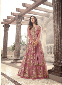 Sensational Pink  Embroidery With Stone Work Net Anarkali Suit