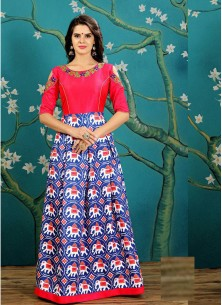 Sensational Royal Blue And Red Print Work Readymade Gown