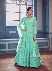 Sensible Embroidered Georgette Floor Length Anarkali Suit