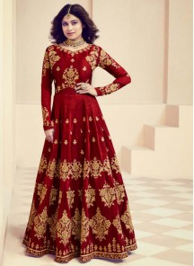 Shamita Shetty Maroon Color Floor Length Anarkali Suit