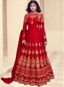 Shamita Shetty Red Resham Work Floor Length Anarkali Suit