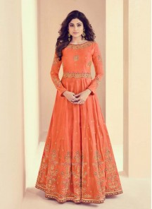 Shamita Shetty Royal Silk Floor Length Anarkali Suit