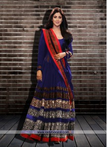Shilpa Shetty Blue Embroidered Work Net Anarkali Salwar Kameez