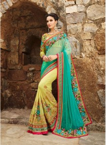 Sightly Embroidered Work Designer Half N Half Saree
