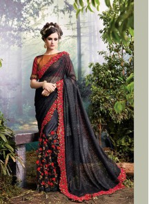 Sightly Embroidery Work Black Designer Saree