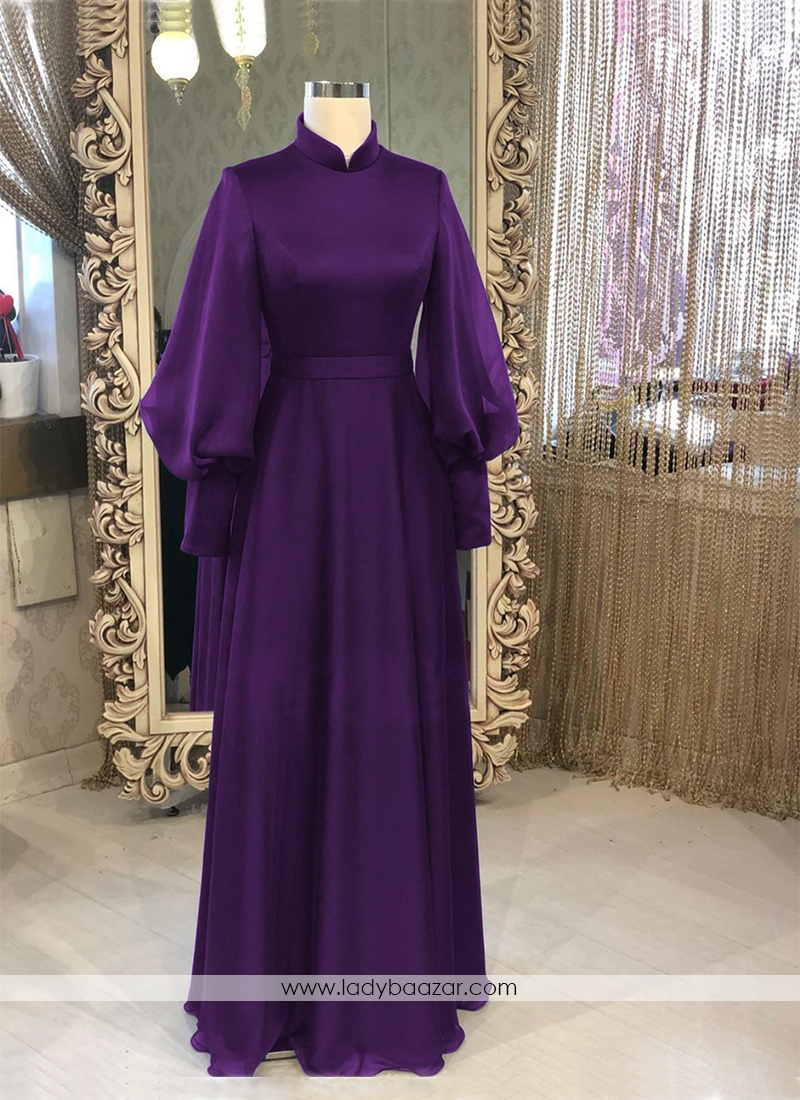 Simple And Elegant Purple Georgette Silk  Long Ready Made Designer Gown