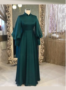 Simple And Elegant Dark Green Georgette Silk Long Ready Made Designer Gown