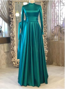 Simple And Elegant Rama Green Satin Silk Floor Length Long Designer Gown