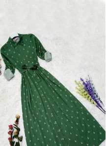 Simplistic Cotton Twill Green Colour Digital Print Party Wear Gown Style Western Ware