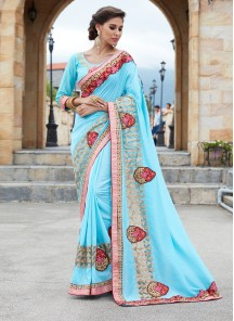 Sky Blue Satin Silk Embroidery  Saree