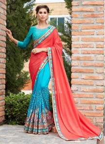 Sky Blue with Red Banglori Silk  Embroidery Saree