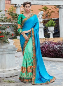 Sky Blue With Turquoise Vishetra Silk Embroidery Saree