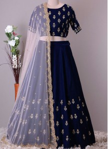 Snazzy Mulbarry Blue Embroidery  Work Lehenga Choli