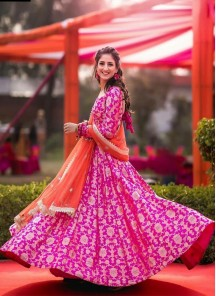 Snazzy Pink Floor Length Anarkali Gown