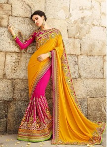 Sonorous Georgette Pink With Yellow Embroidery Work Designer Half N Half Saree