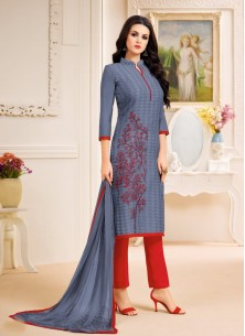 Sonorous Gery Chanderi Printed Pant Style Suit