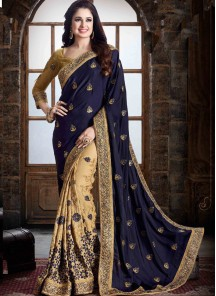 Sonorous Navy  Blue With Cream Border Work Designer Half N Half Saree