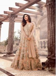 Sonorous Net Embroidery With Stone Work  Orange  Anarkali Suit