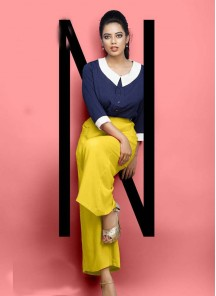 Sonorous Yellow Color Reyon Plain Palazzo For Girls