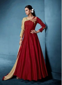Sorcerous Maroon Embroidered Floor Length Anarkali Suit
