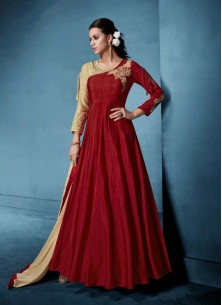 Sorcerous Maroon Embroidered Floor Length Anarkali