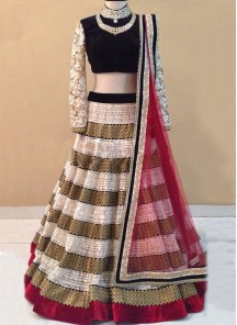 Sorcerous Velvet Patch Border Work A Line Lehenga Choli