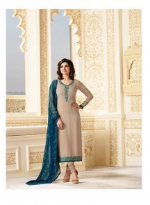 Sparkling  Embroidered Work Blue Churidar Suit
