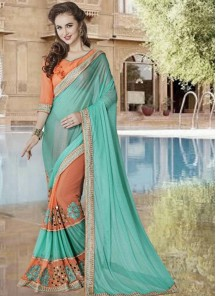 Sparkling Embroidery Work Lycra With Georgette Half N Half Saree