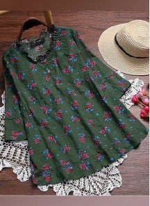 Sparkling Green Cotton Twill Festival Party Western Ware