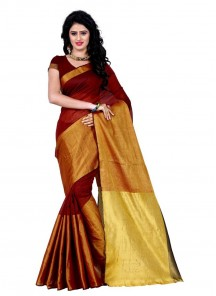 Sparkling Maroon Shaded Cotton Silk Casual Saree