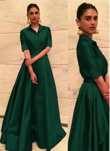 Specialised Green Tafeta Silk Designer Gown