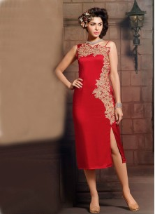 Spectacular Georgette Red Party Wear Kurti
