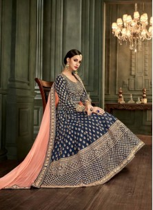 Splendid Blue Mullburry Silk Floor Length Anarkali