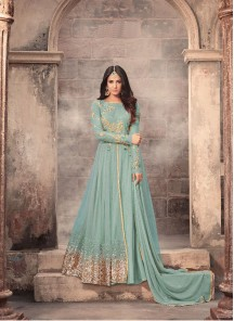 Splendid Embroidery With Stone Work Turquoise Heavy Net Anarkali Suit