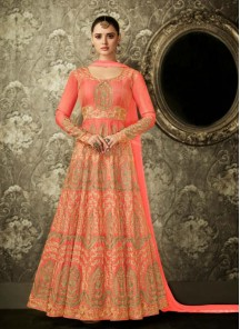 Splendid Peach Color Floor Length Anarkali Suit