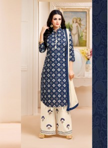 Staggering Navy Blue Lawn Printed Palazzo Salwar Suit