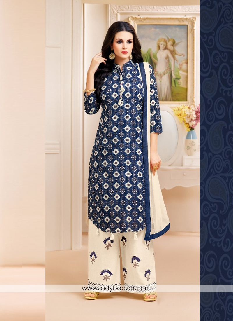 9b54ac9027 Staggering Navy Blue Lawn Printed Palazzo Salwar Suit