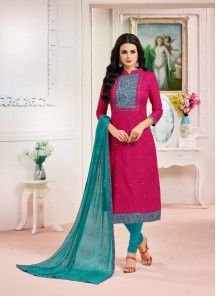 Staggering Red Cotton Embroidery Work Salwar Suit