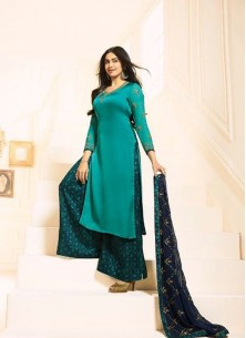 Staring Georgette Silk  Embroidered With Stone Work Designer Palazzo Suit