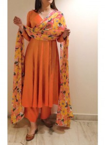 Staring Orange Colored  Plazzo Set Along With Digital Printed Chiffon Dupatta